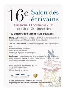13/11/2011 : 16ème Salon des Ecrivains