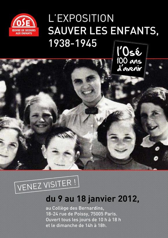 L'exposition Sauvez les enfants, 1938-1945 du 9 au 18 janvier 2012 au Collège des Bernardins, Paris