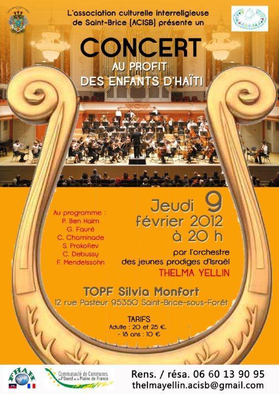Jeudi 9 Février 2012 à 20h00 - CONCERT SYMPHONIQUE L'ORCHESTRE THELMA YELLIN  d'ISRAEL