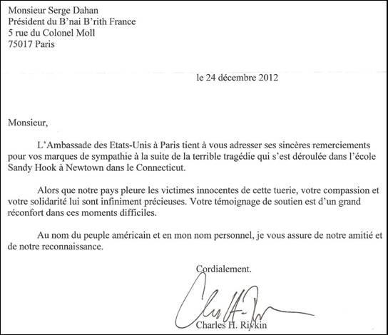 S.E. l'Ambassadeur des Etats Unis remercie Serge Dahan pour les marques de sympathie exprimées par le B'nai B'rith France à la suite de la tragédie de Sandy Hook à Newtown