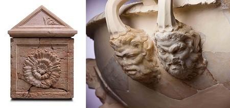 A gauche, sarcophage du roi Hérode, Hérodion, 1er siècle avant notre ère, et à droite, poignée d'un bassin de marbre orné de têtes Silénoi, 1er siècle avant notre ère.