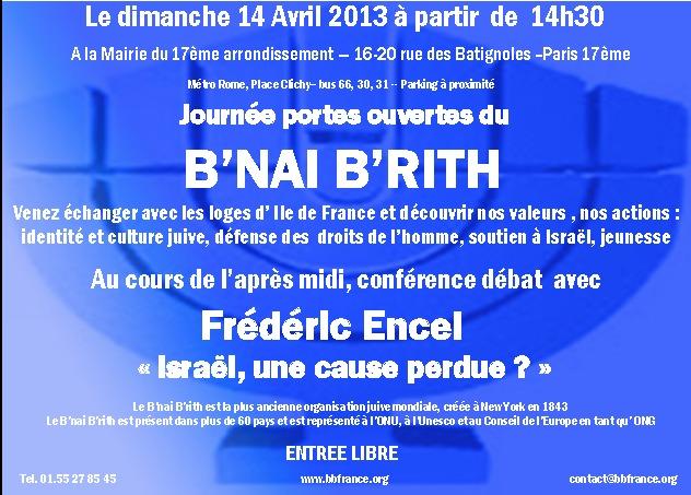 Une révolution au B'nai B'rith : Journée Portes Ouvertes le 14 Avril 2013