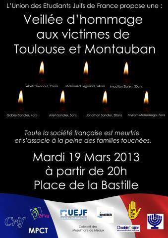 Veillée d'hommage aux victimes de Toulouse et Montauban Mardi 19 Mars à 20h à la Bastille