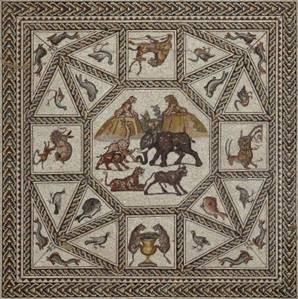 La mosaïque de Lod, détail (partie centrale)© © Israel Antiquities Authority / Nicky Davidov