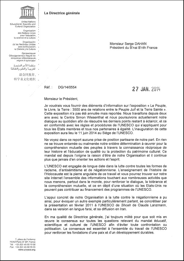 lettre de madame irina bokova  directrice g u00e9n u00e9rale de l