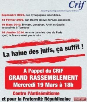 Mercredi 19 Mars RASSEMBLEMENTContre l'antisémitisme et pour la fraternité républicaine