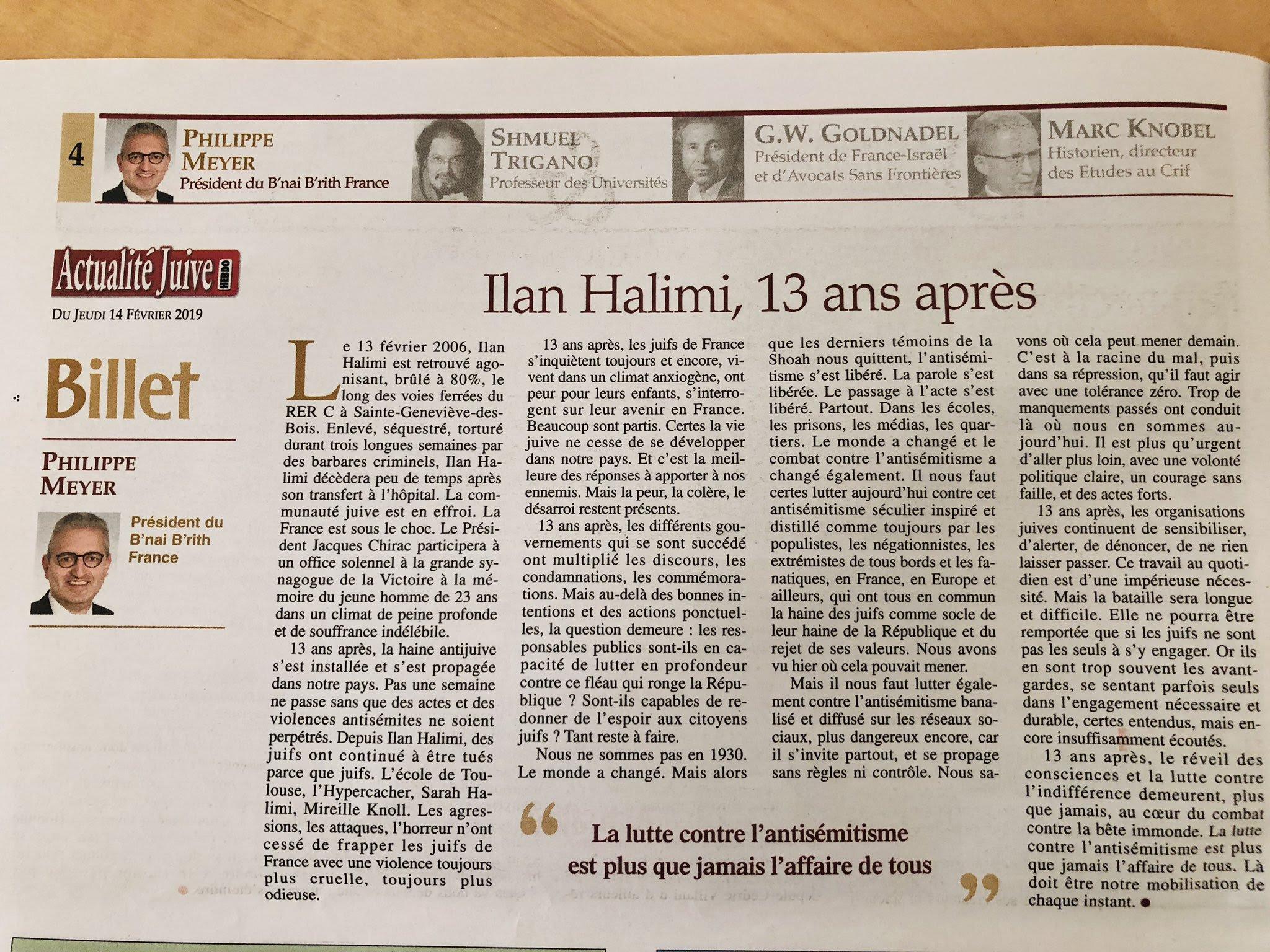 Le Mot du Président du B'nai B'rith France   Ilan Halimi, 13 ans après