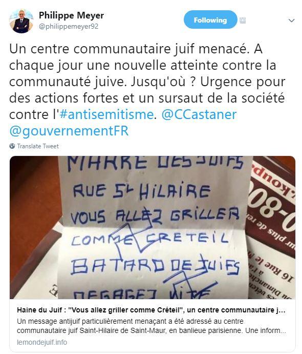 Prises de positions récentes du B'nai B'rith France