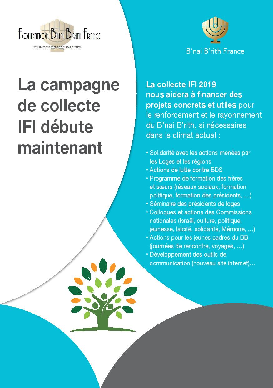 Information : Collecte IFI 2019 - Fondation B'nai B'rith France