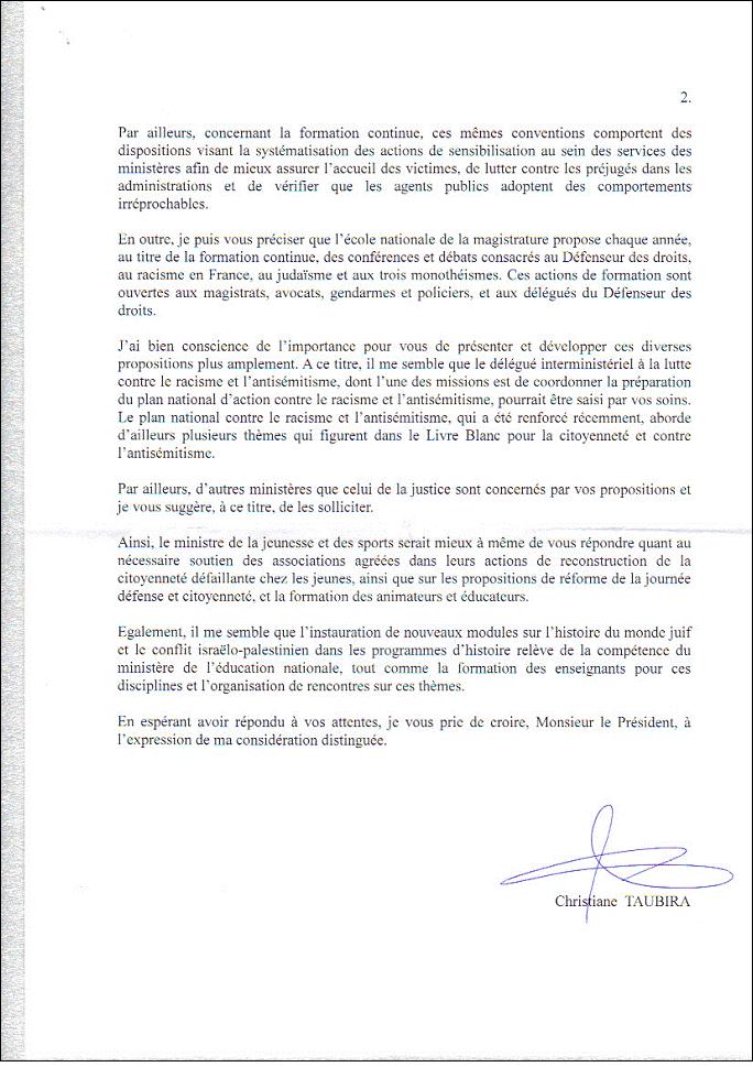 Mme Taubira, Garde des Sceaux, Ministre de la Justice en réponse au courrier du Président du B'nai B'rith France