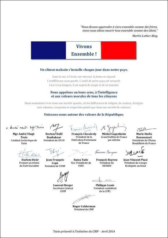 Le B'nai B'rith France s'associe à l'appel du Crif «  Vivons ensemble »