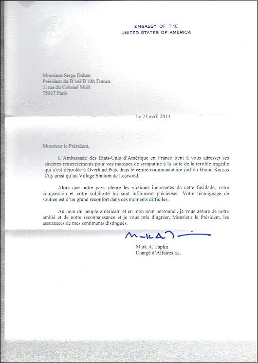 S.E. l'Ambassadeur des Etats Unis remercie Serge Dahan pour le soutien du B'nai B'rith France à la suite de la tragédie de Kansas City